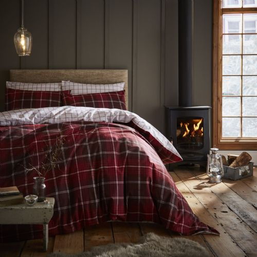 Catherine Lansfield Brushed Tartan Check Red Bedding Set